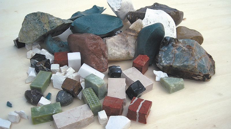 1. River pebbles, marble chips, cut tiles in different sizes